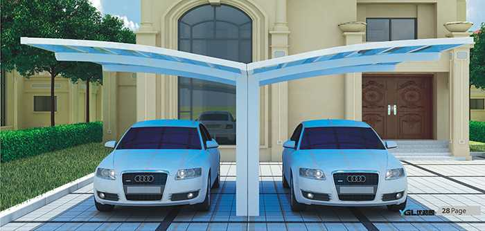 单边背撑式双车位汽车车棚